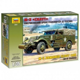 Model Kit military 3581 - M-3 Armored Scout Car with Canvas (1:35)