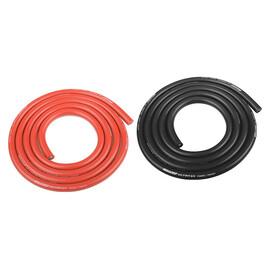 Silikonový kabel 5,5qmm, 10AWG, 2x1metr, černý a červený