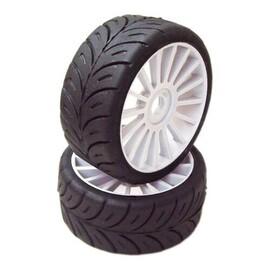 1/8 GT Sport gumy HARD nalepené gumy, šedé disky, 2ks.