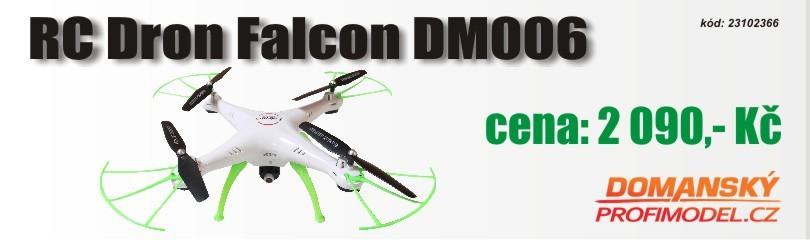 RC Dron Falcon DM006 s funkcí fixace výšky a s wifi kamerou bílá